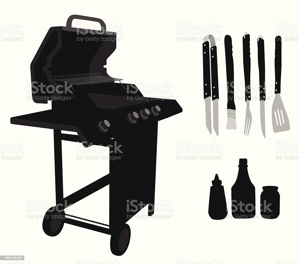 Ready BBQ Vector Silhouette royalty-free stock vector art