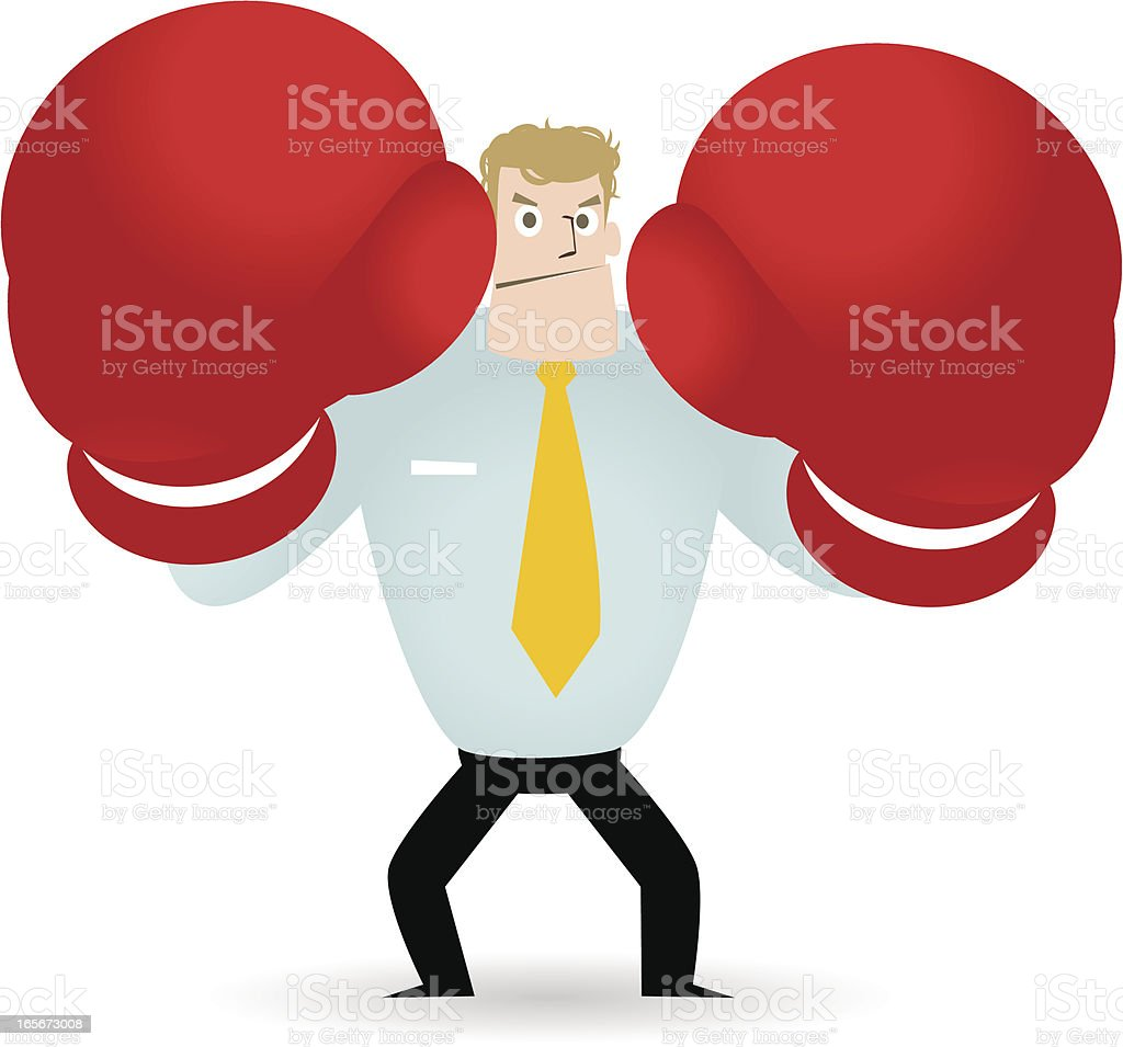 Ready to deal, Fighting businessman with boxing gloves vector art illustration