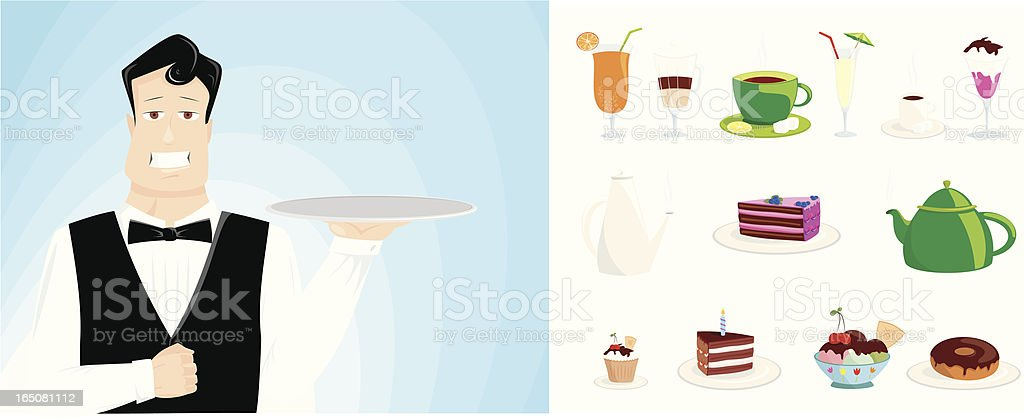 ready to serve vector art illustration
