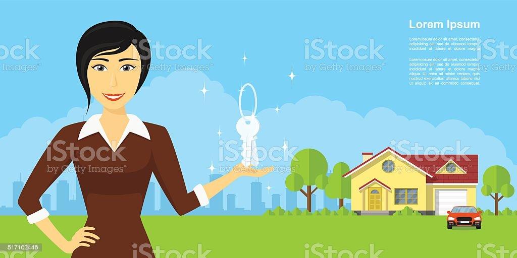 real estate agency vector art illustration