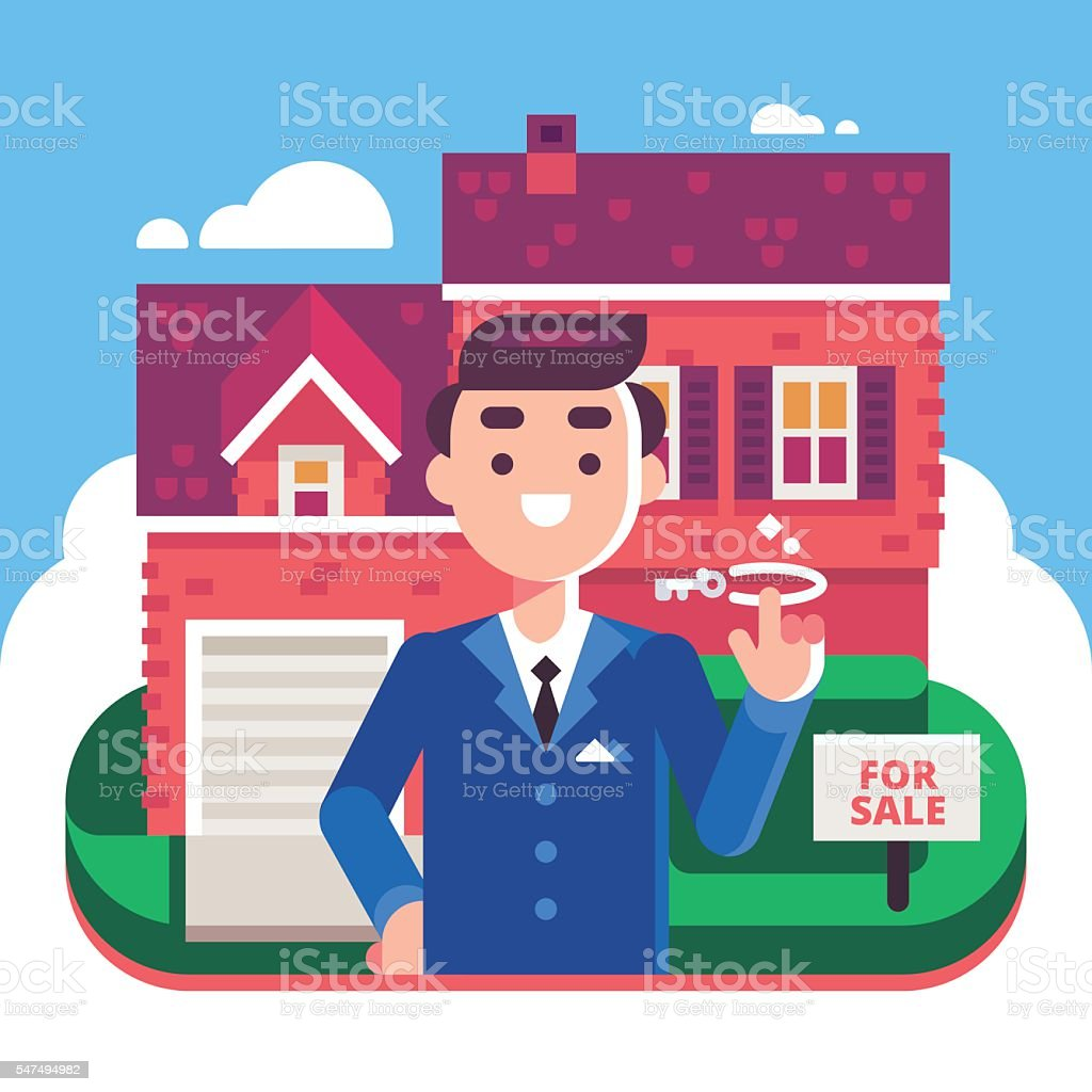 Real Estate Agent and House for Sale vector art illustration