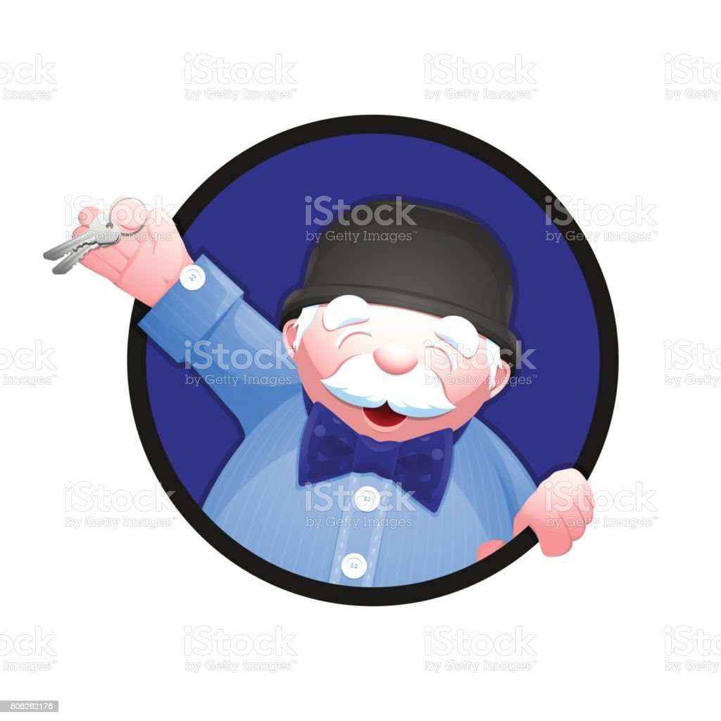 Real estate agent holding a house key in his hand vector art illustration