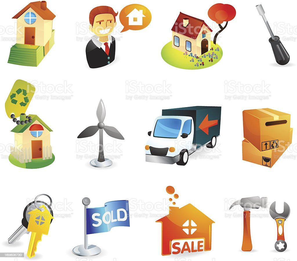 Real Estate & Housing Web Icons royalty-free stock vector art