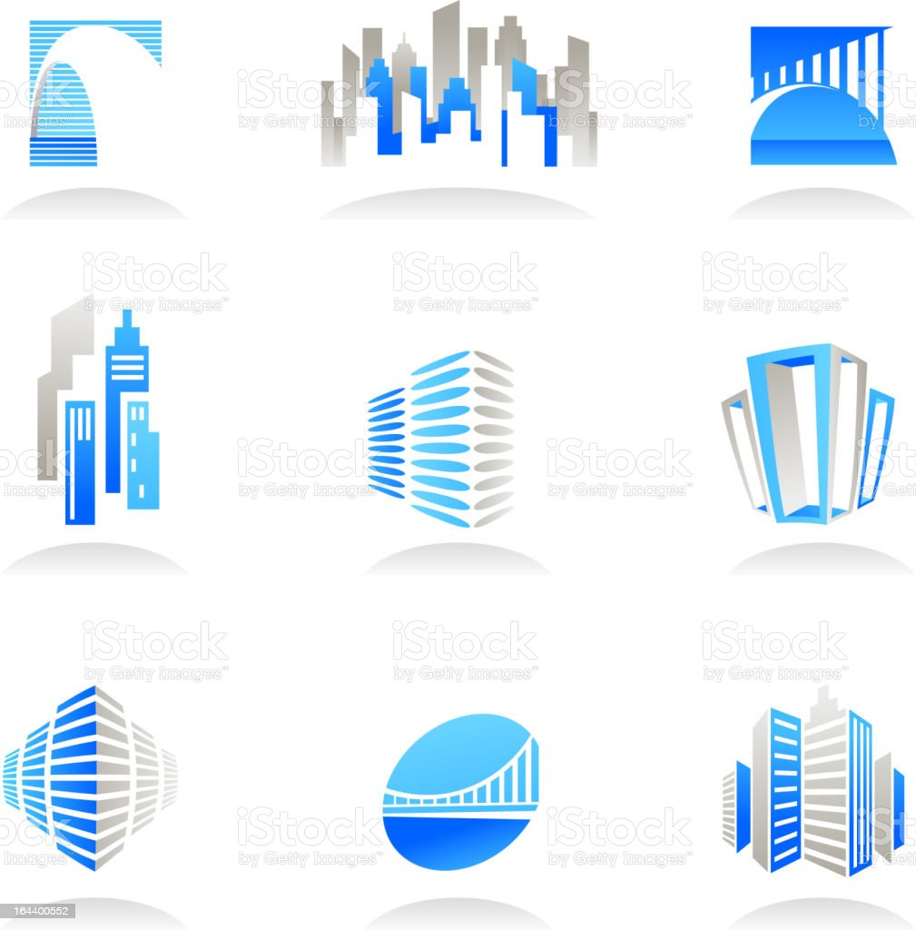 Real estate and construction icons in blue and beige royalty-free stock vector art