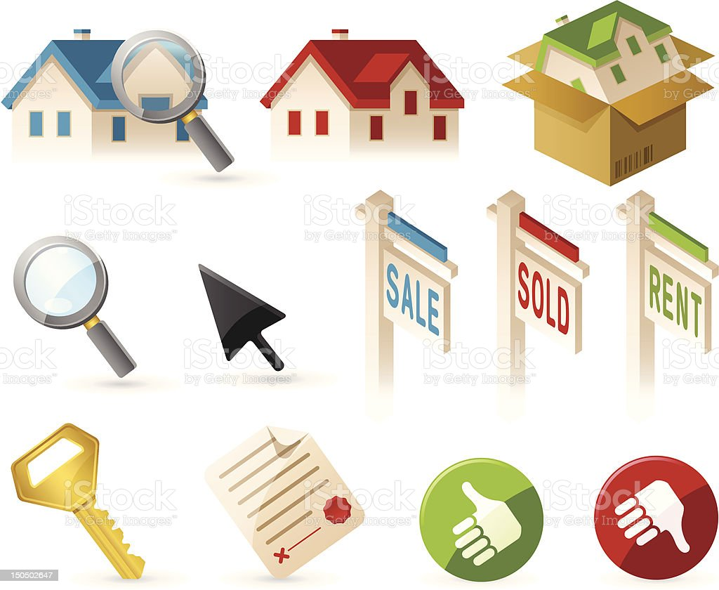 Real Estate and Home Elements vector art illustration