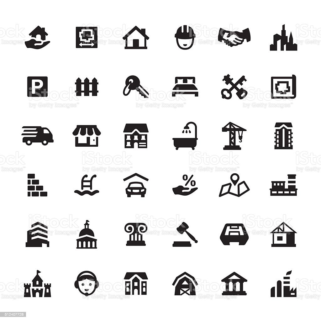 Real Estate and Property vector icons vector art illustration