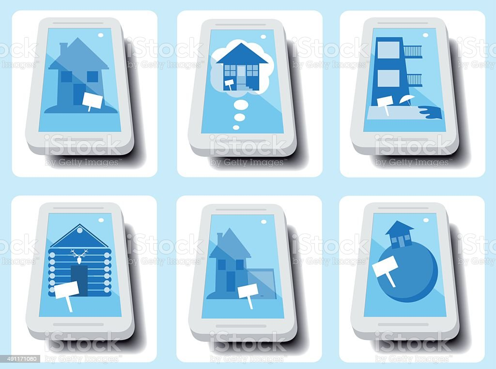 Real estate apps icons vector art illustration
