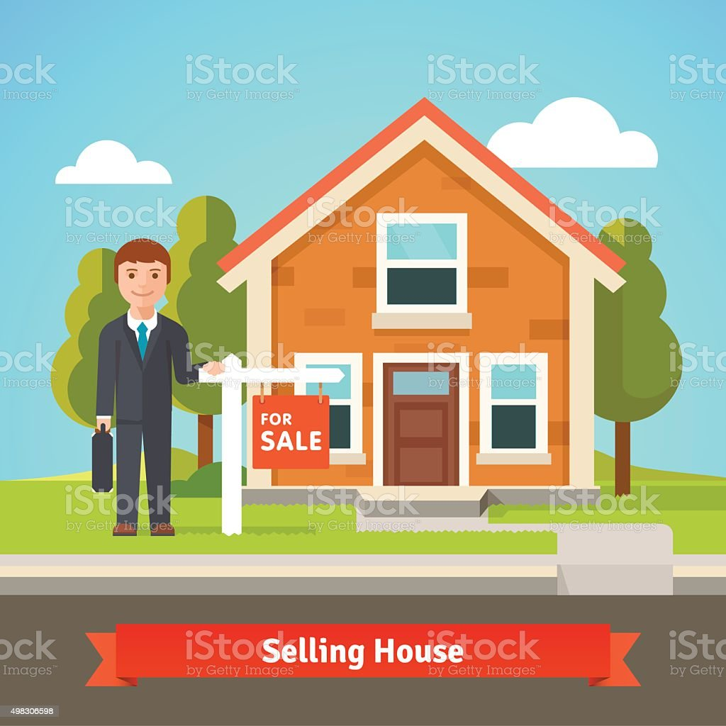 Real estate broker and house with for sale sign vector art illustration