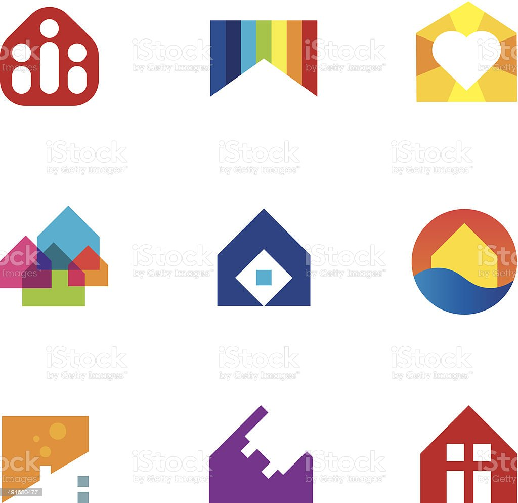Real estate building construction home monument with passion icon vector art illustration