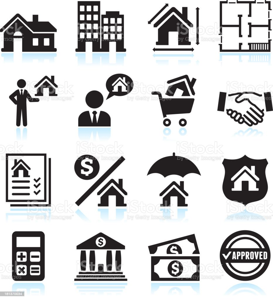 Real Estate Business black & white vector icon set royalty-free stock vector art