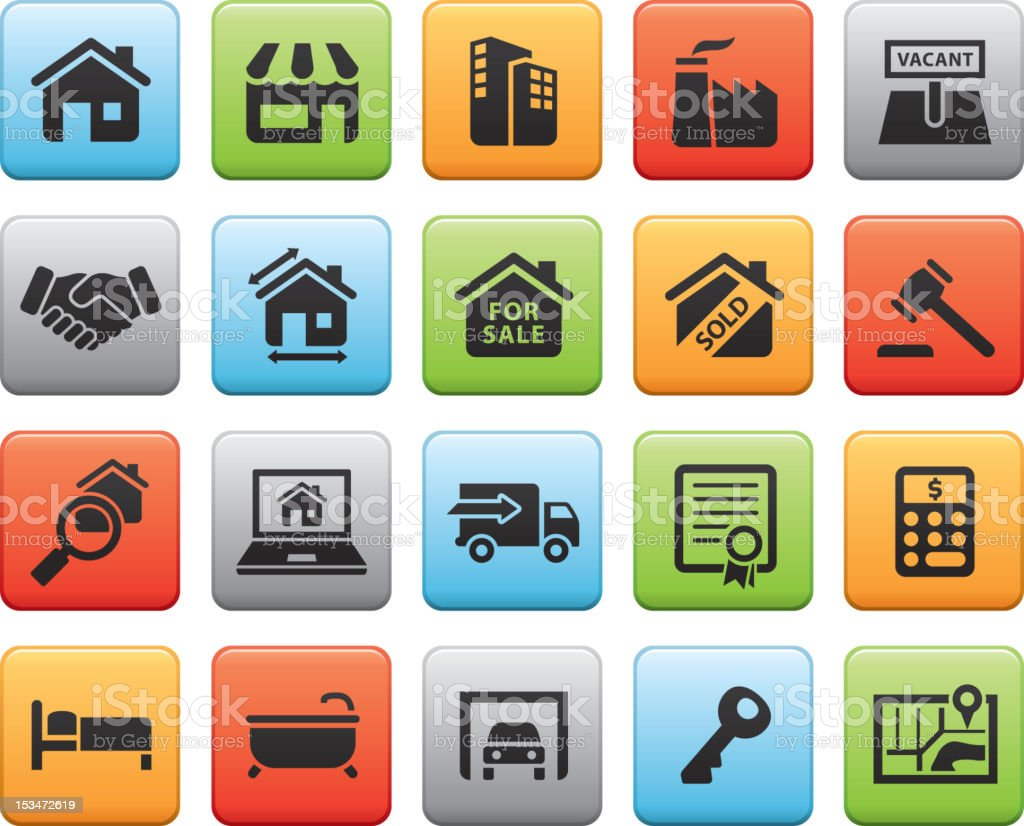 Real Estate Buttons royalty-free stock vector art
