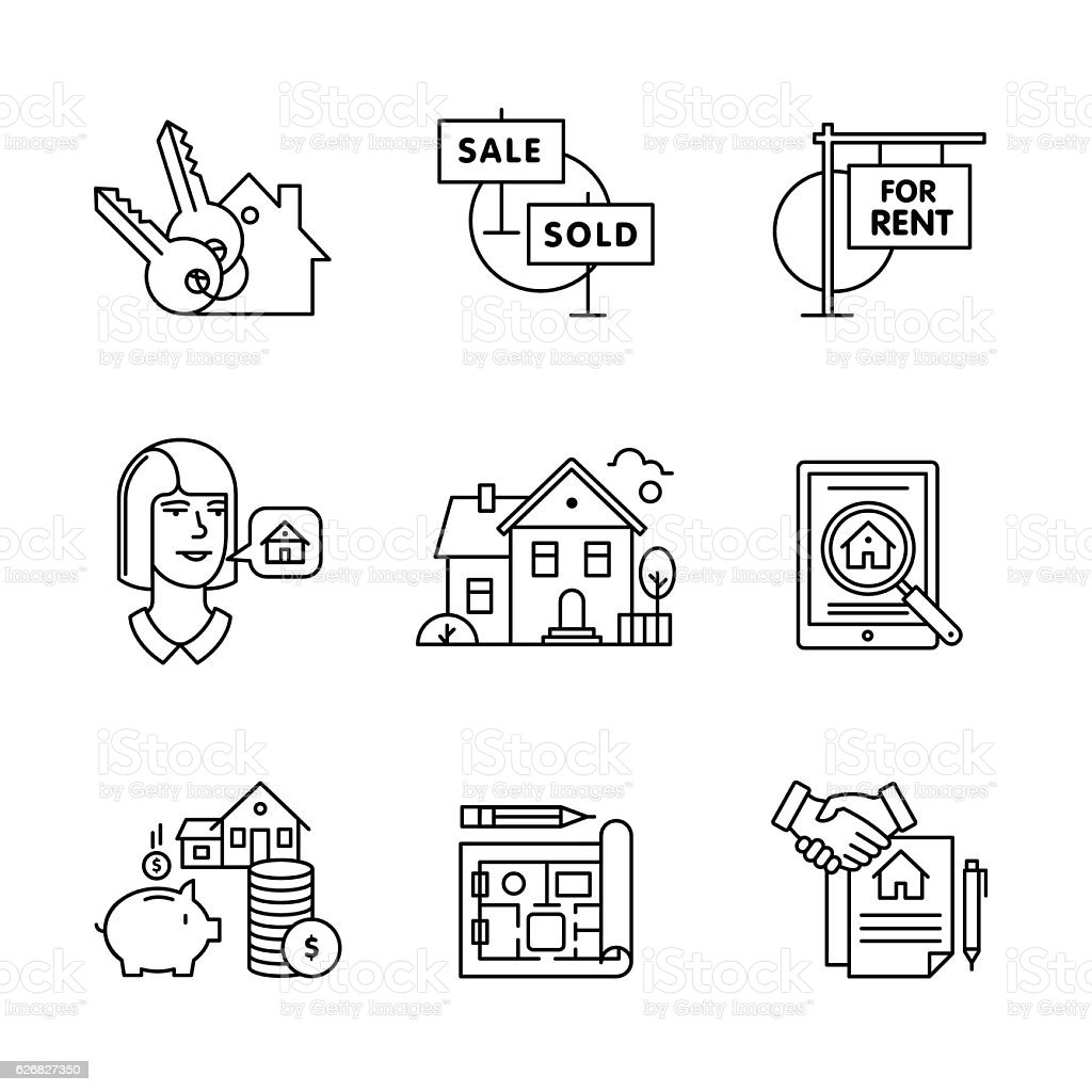 Real estate buying, selling and renting signs set vector art illustration