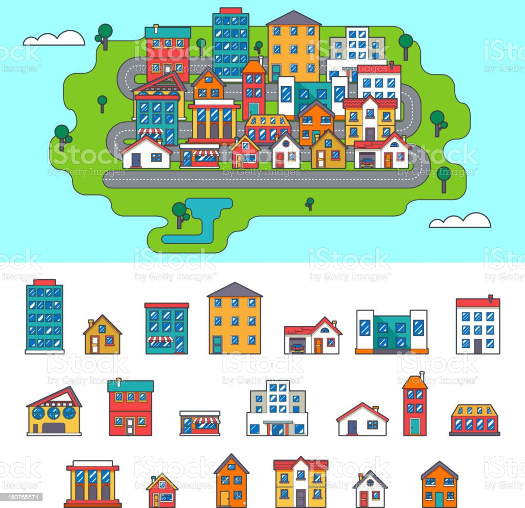 Real Estate City Building House Street Flat Icons Set Isolated vector art illustration