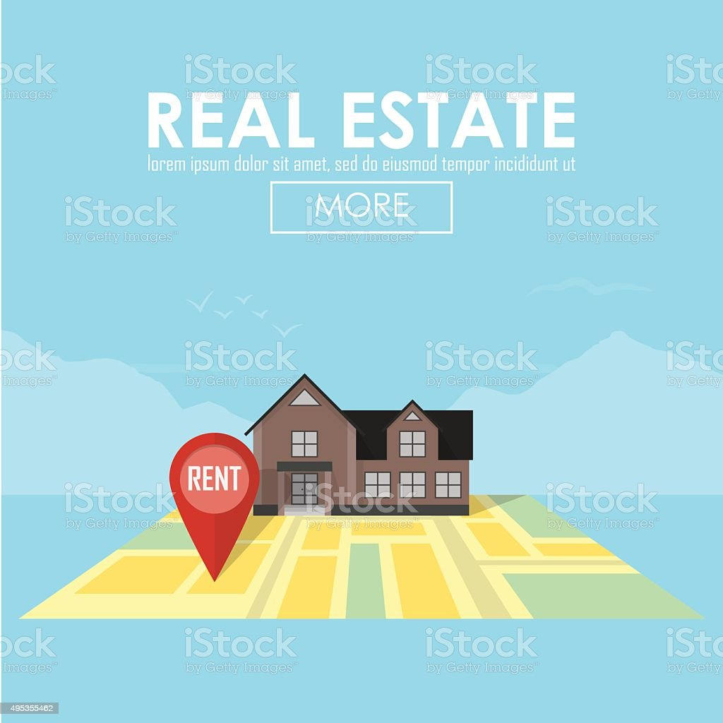 Real estate concept with house for sale and rent vector art illustration