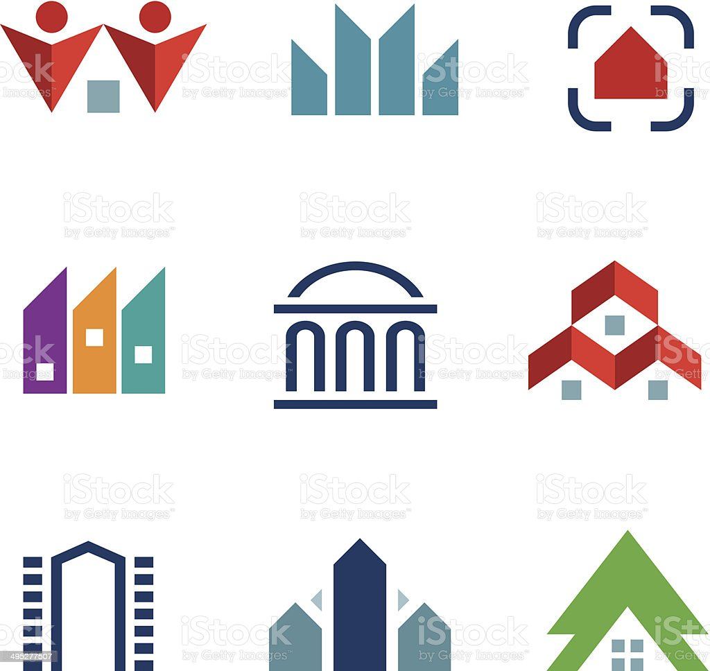 Real estate construction building in city community center logo icon vector art illustration
