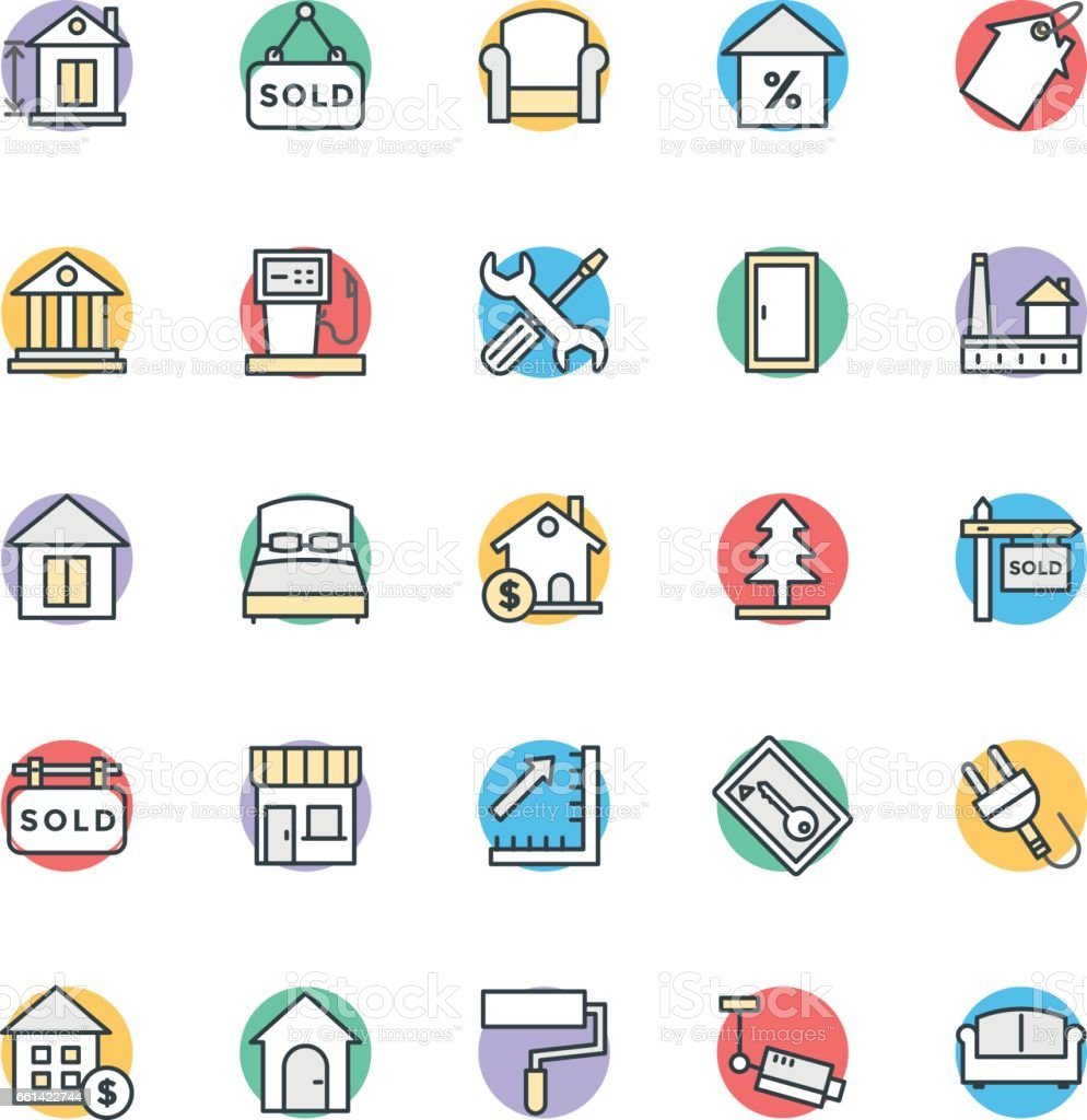 Real estate cool vector icons 3 stock vector art 661422744 istock blueprint chart commercial sign door entrance malvernweather Images