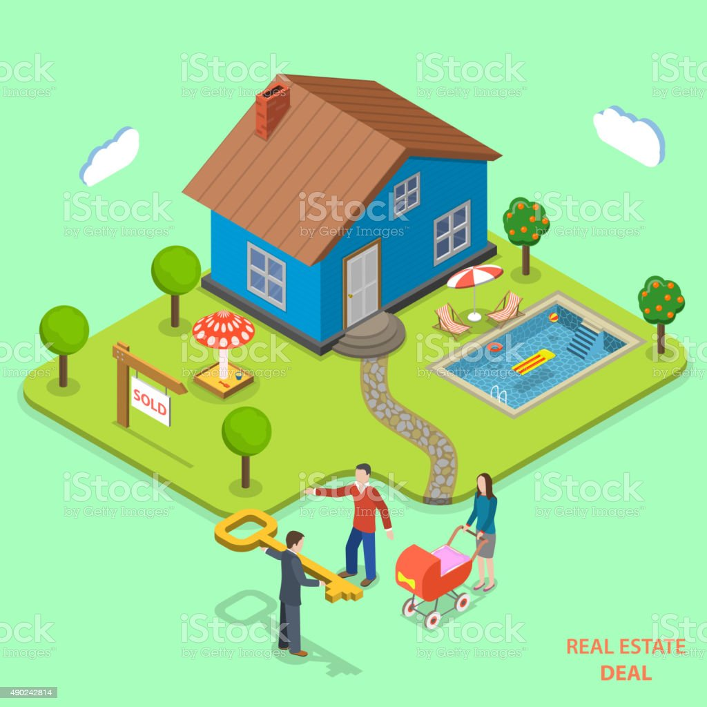 Real estate deal isometric flat vector concept. vector art illustration