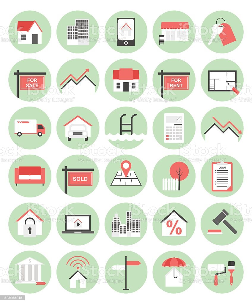 Real Estate Flat Icon Set vector art illustration