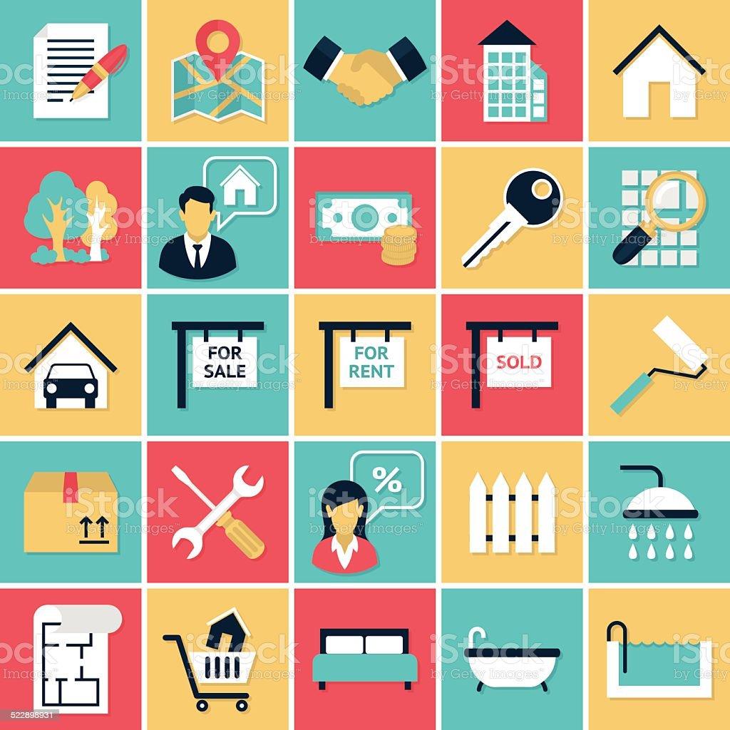 Real Estate flat icons set vector art illustration