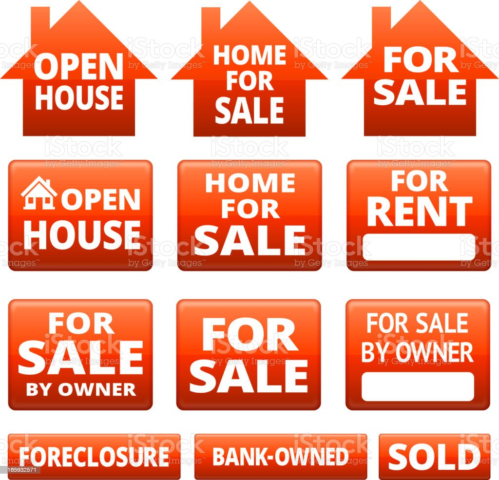 Real Estate for sale signs royalty-free stock vector art