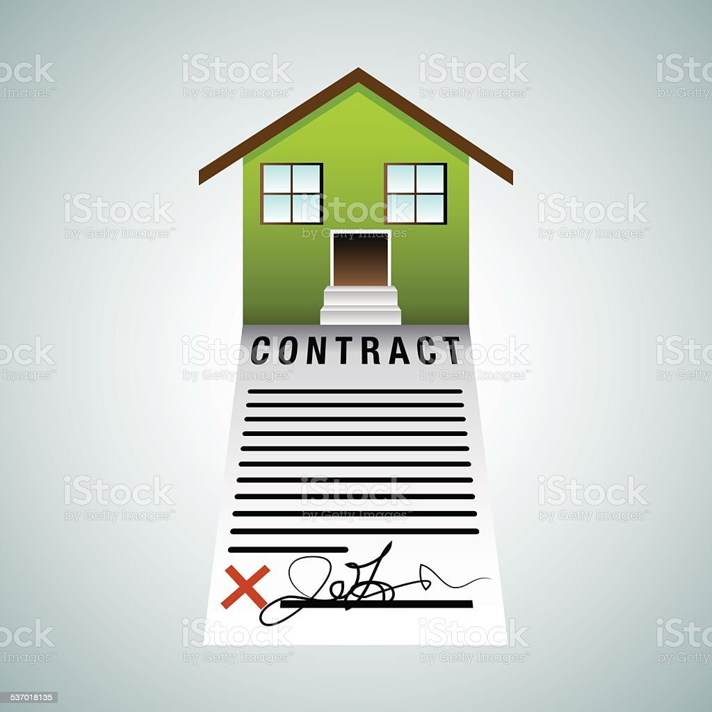 Real Estate Home Contract vector art illustration
