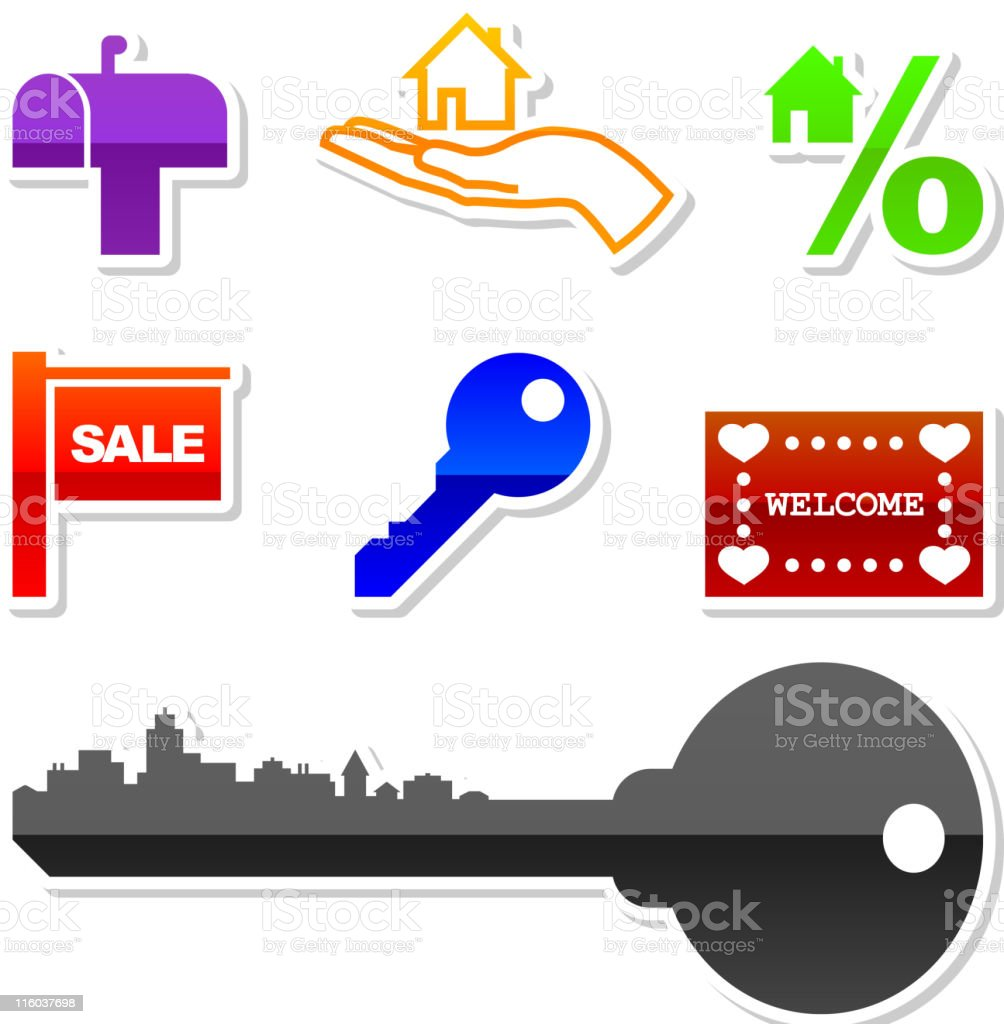real estate home mortgage royalty free vector icon set vector art illustration