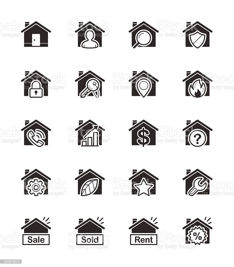 Real Estate & House icon on White Background Vector Illustration vector art illustration