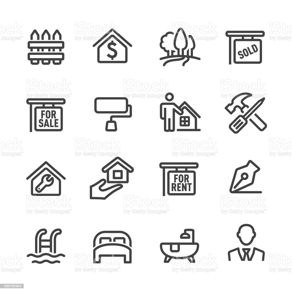 Real Estate Icon Set - Line Series vector art illustration