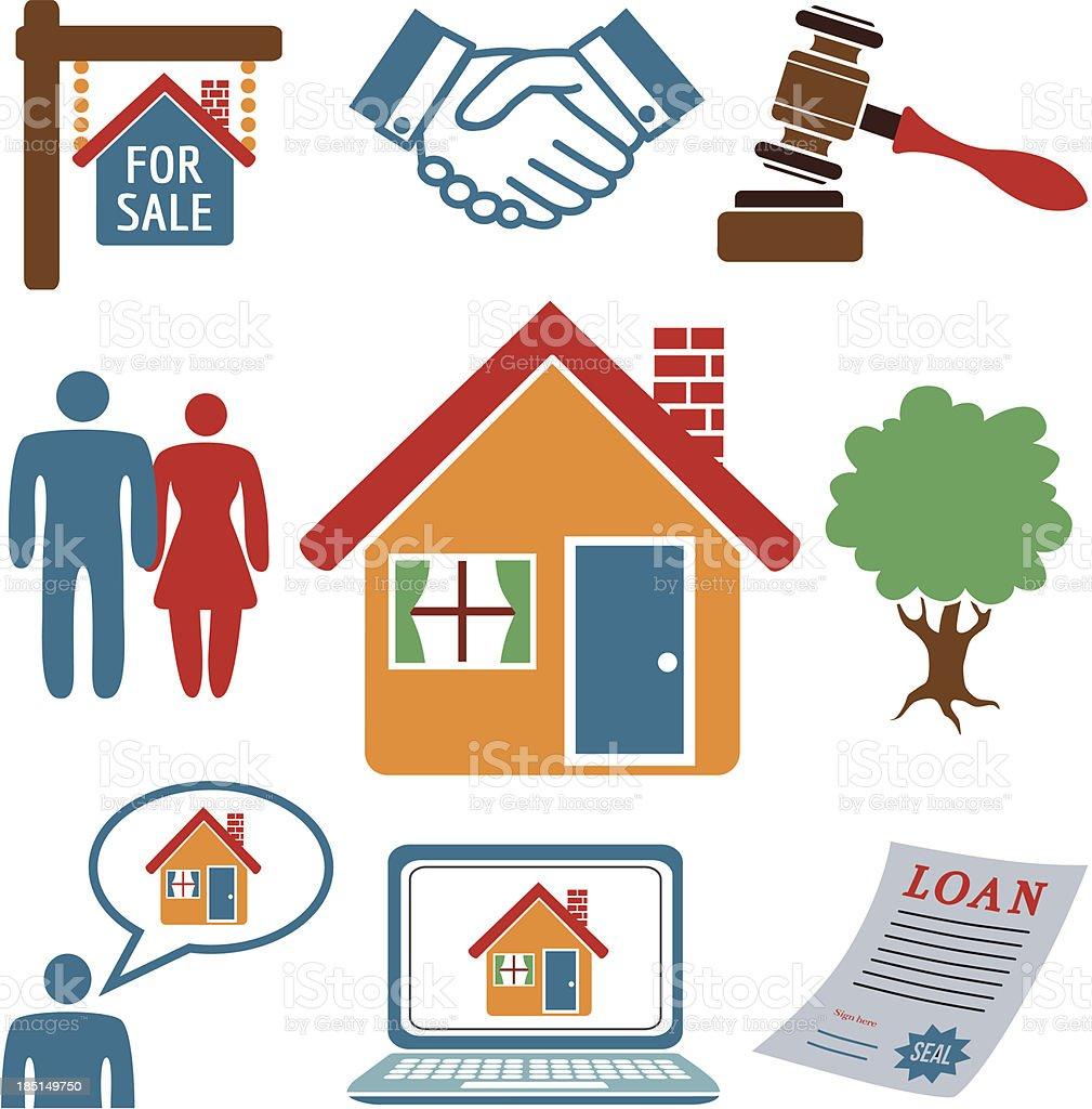 real estate icon set vector art illustration