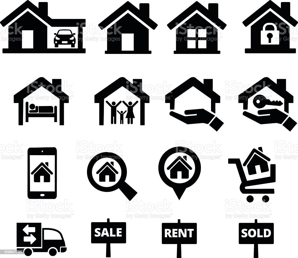 real estate icon set vector art illustration