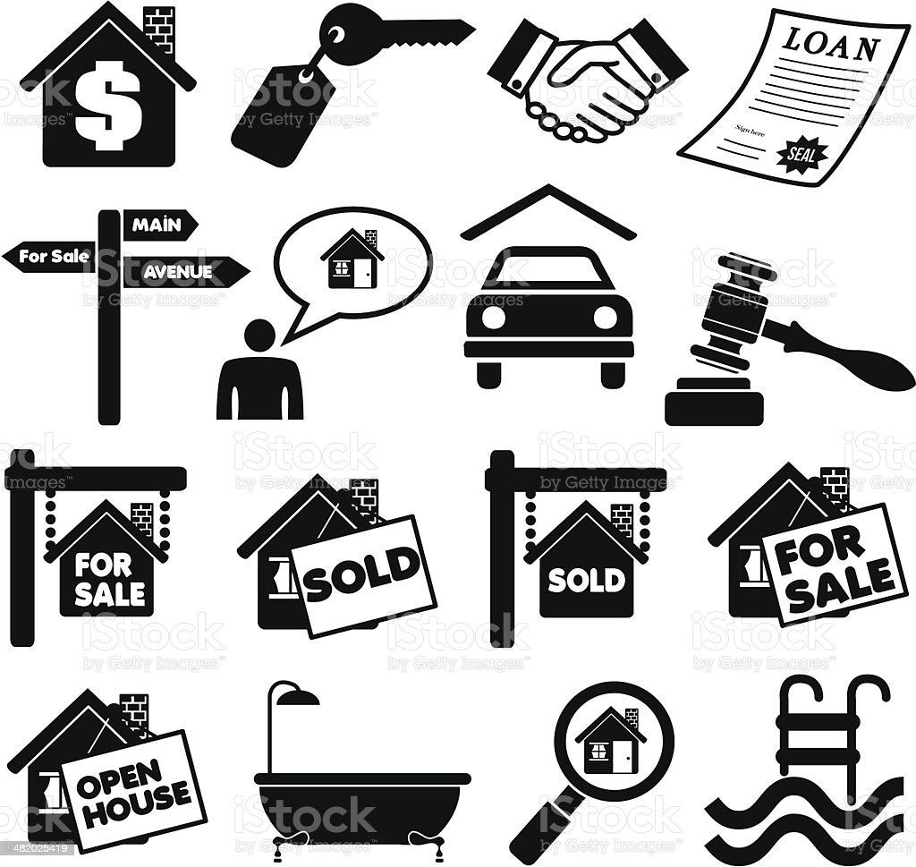 real estate icons and design elements vector art illustration