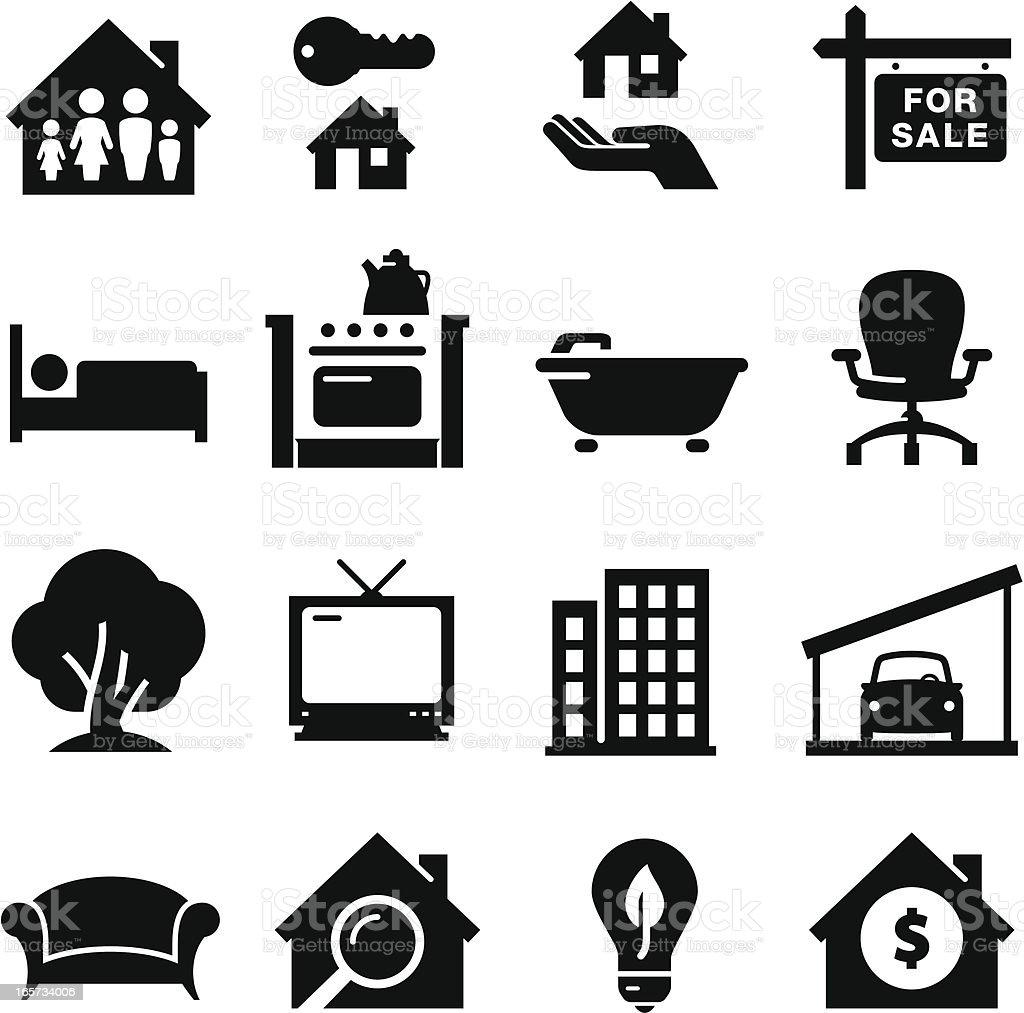 Real Estate Icons - Black Series vector art illustration