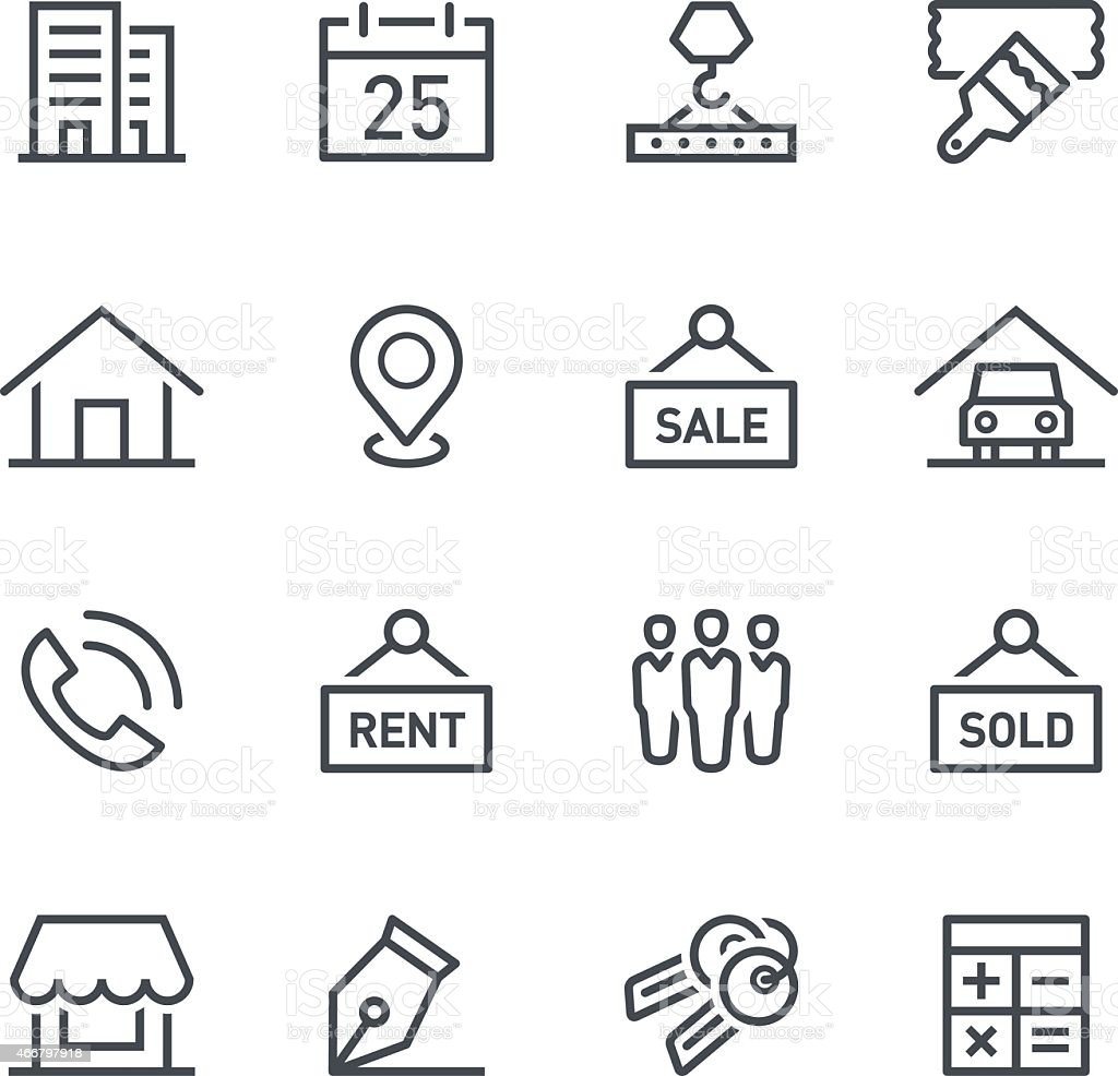 Real estate icons in grey and white vector art illustration