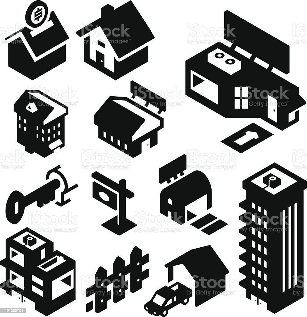 Real Estate Icons Isometric vector art illustration