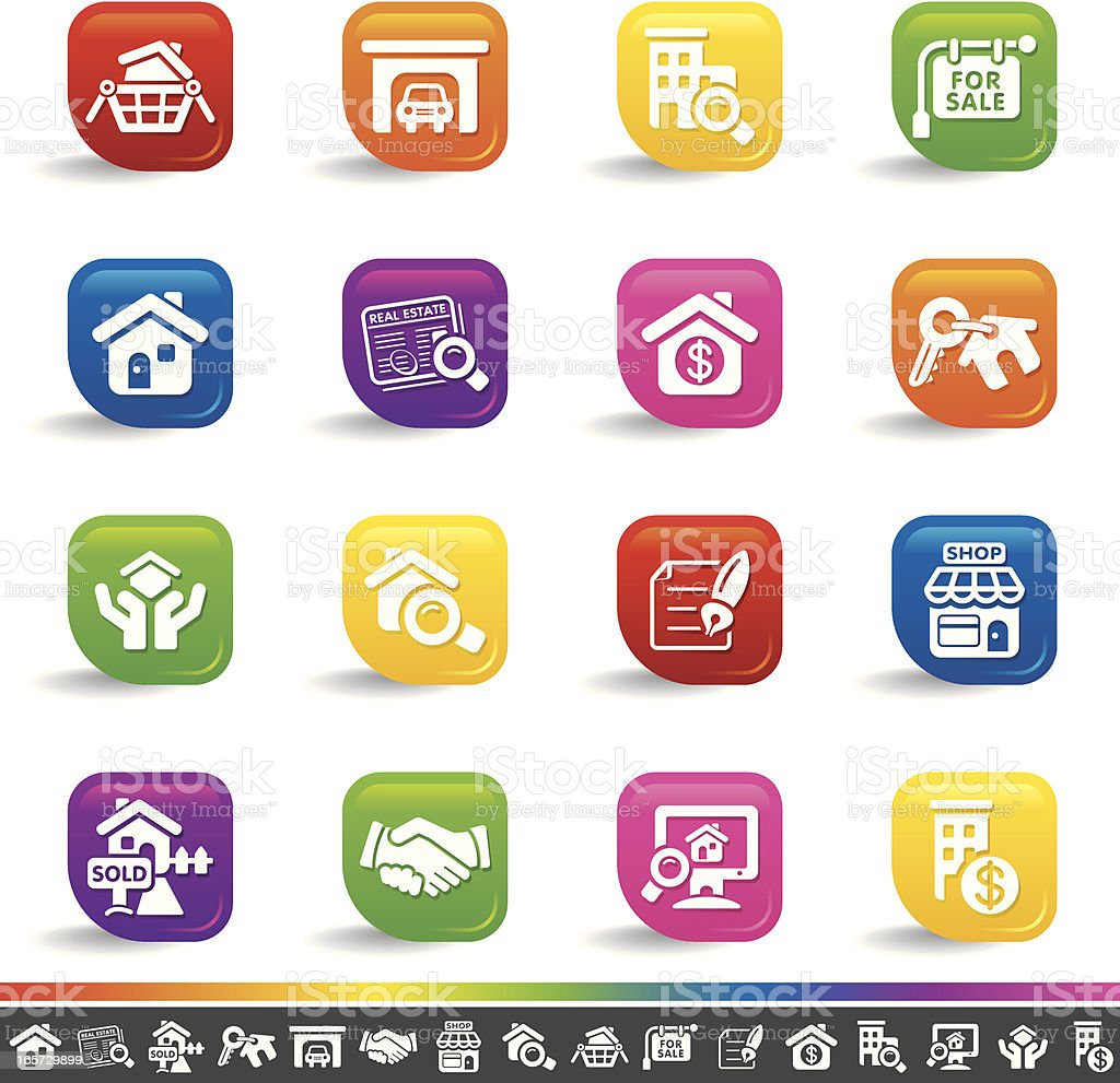 Real estate icons | Rainbow Series royalty-free stock vector art