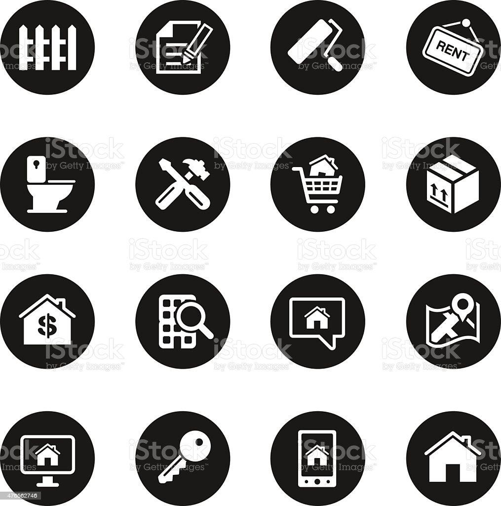 Real Estate Icons Set 2 - Black Circle Series vector art illustration