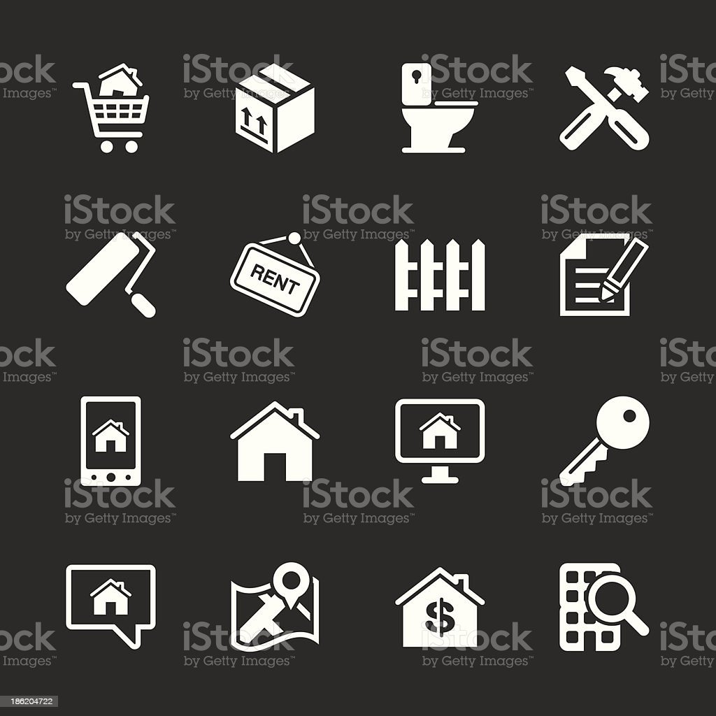 Real Estate Icons Set 2 - White Series royalty-free stock vector art