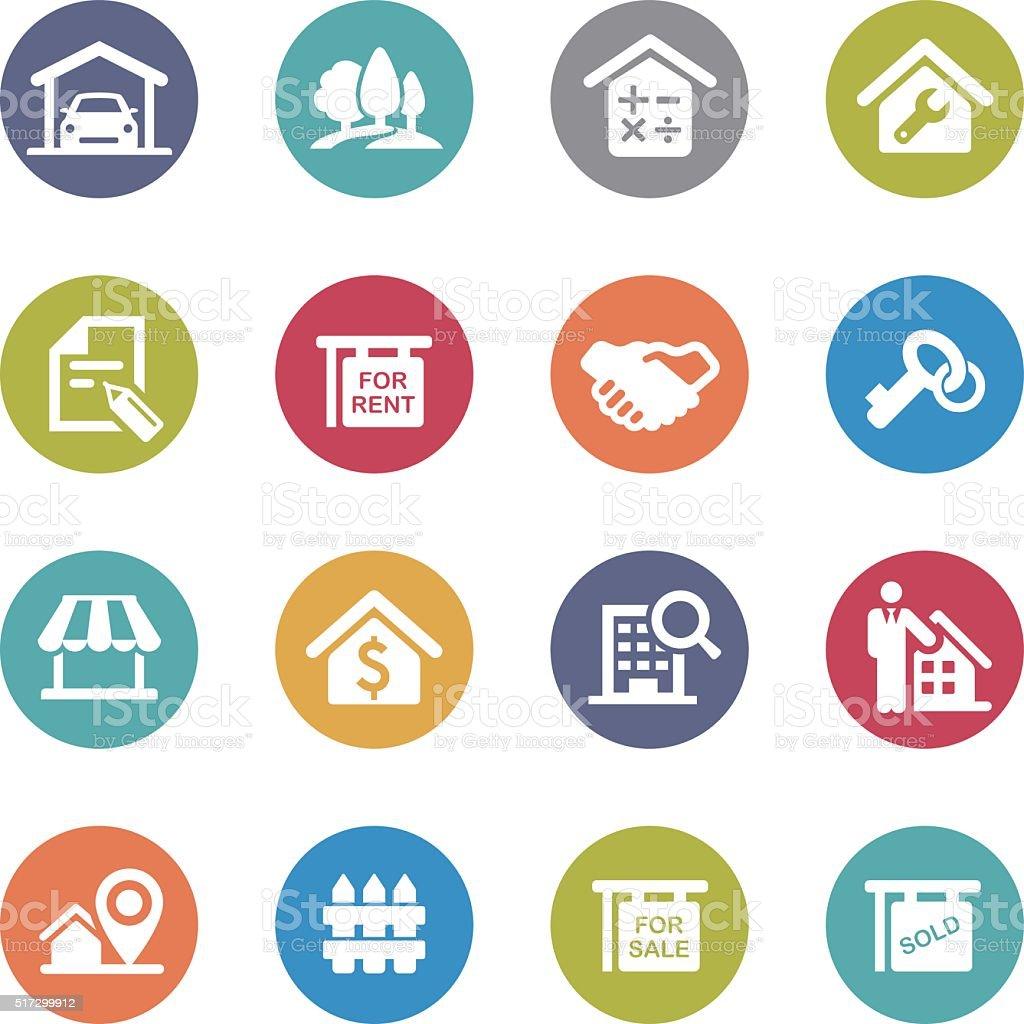 Real Estate Icons Set - Circle Series vector art illustration