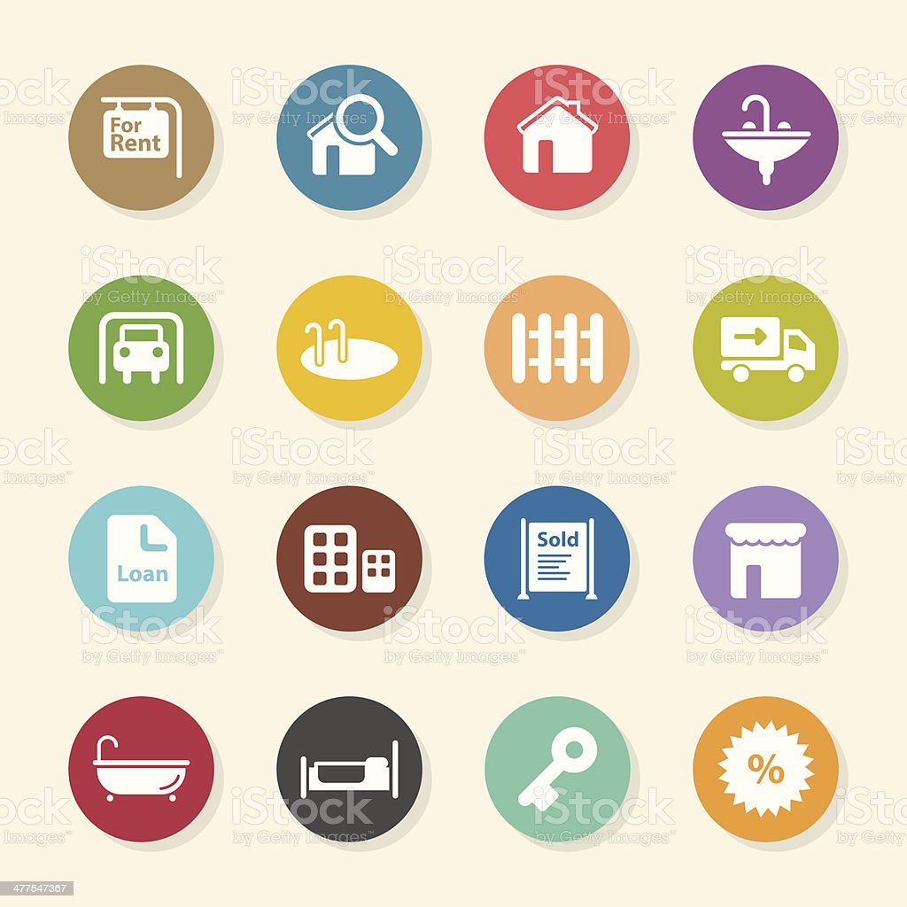 Real Estate Icons Set - Color Circle Series vector art illustration