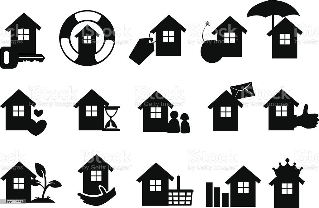Real estate icons set in black. royalty-free stock vector art
