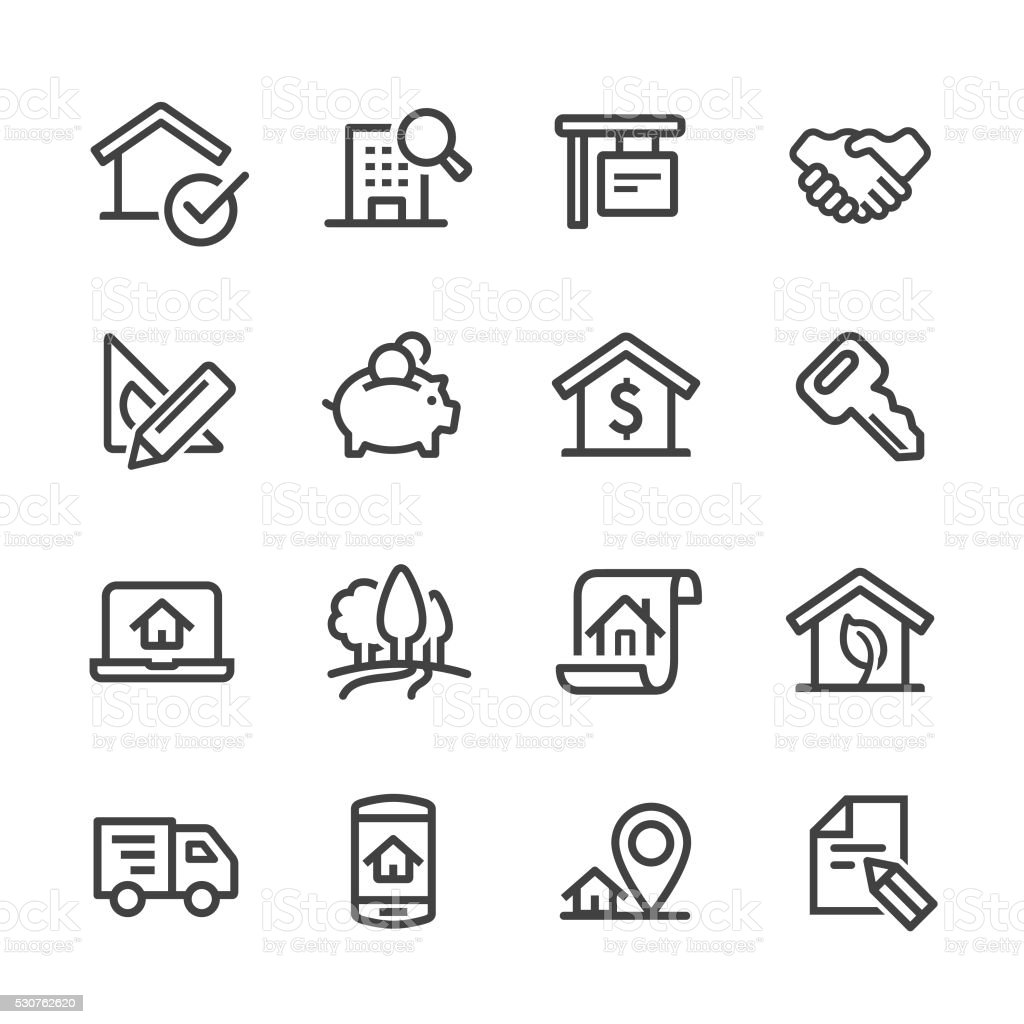 Real Estate Icons Set - Line Series vector art illustration