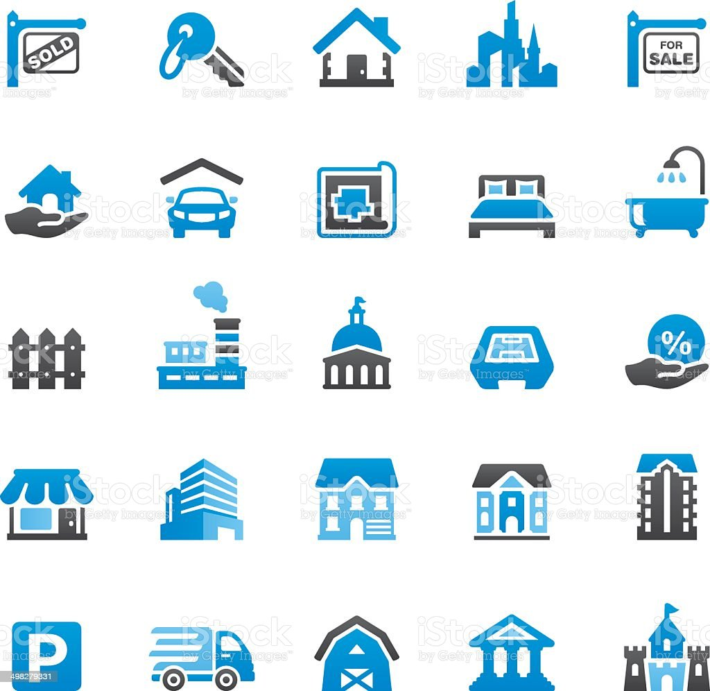Real Estate icons set vector art illustration
