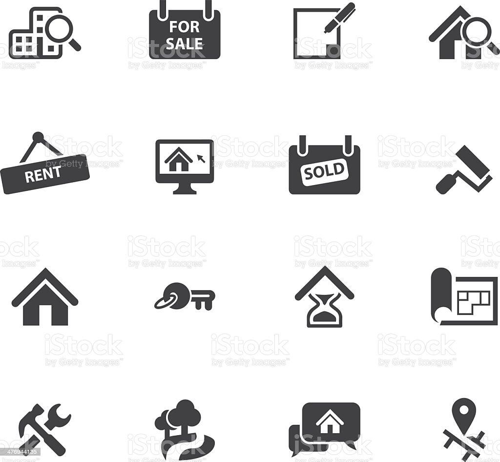 Real Estate icons Silhouette set vector art illustration