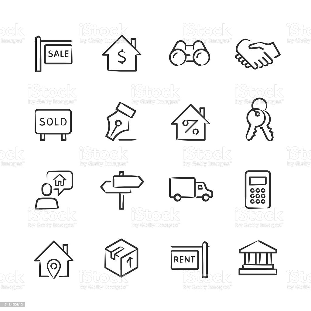 Real Estate Icons — Sketchy Series vector art illustration