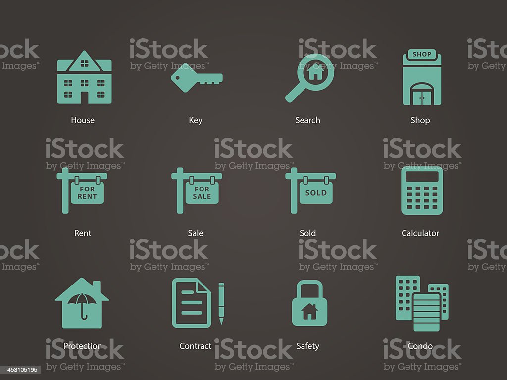 Real Estate icons. vector art illustration