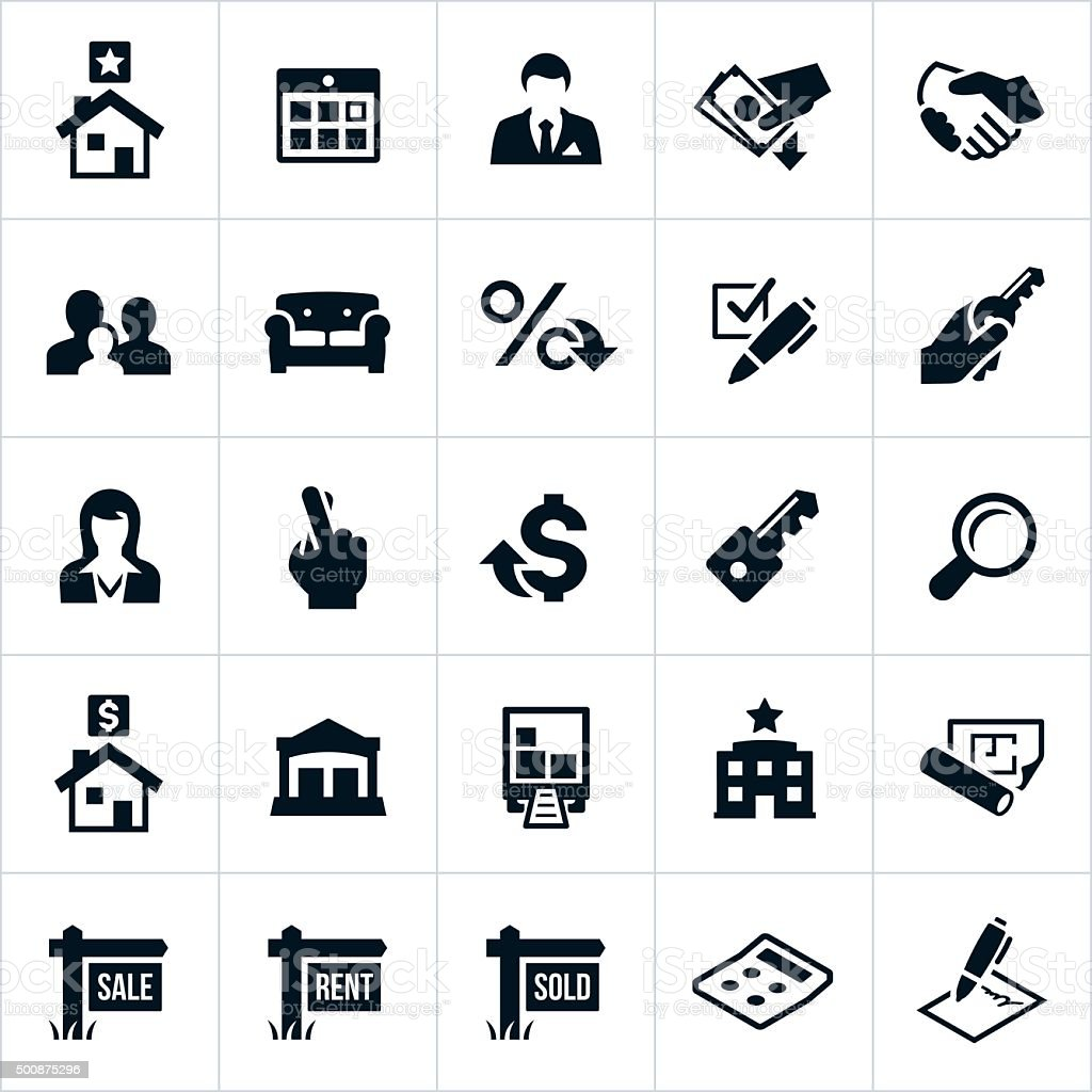 Real Estate Icons vector art illustration