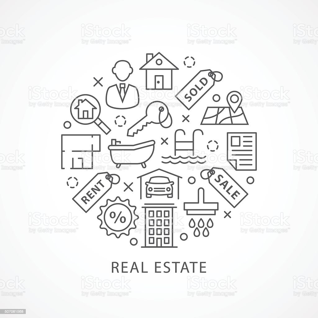 Real Estate illustration with icons in linear style vector art illustration