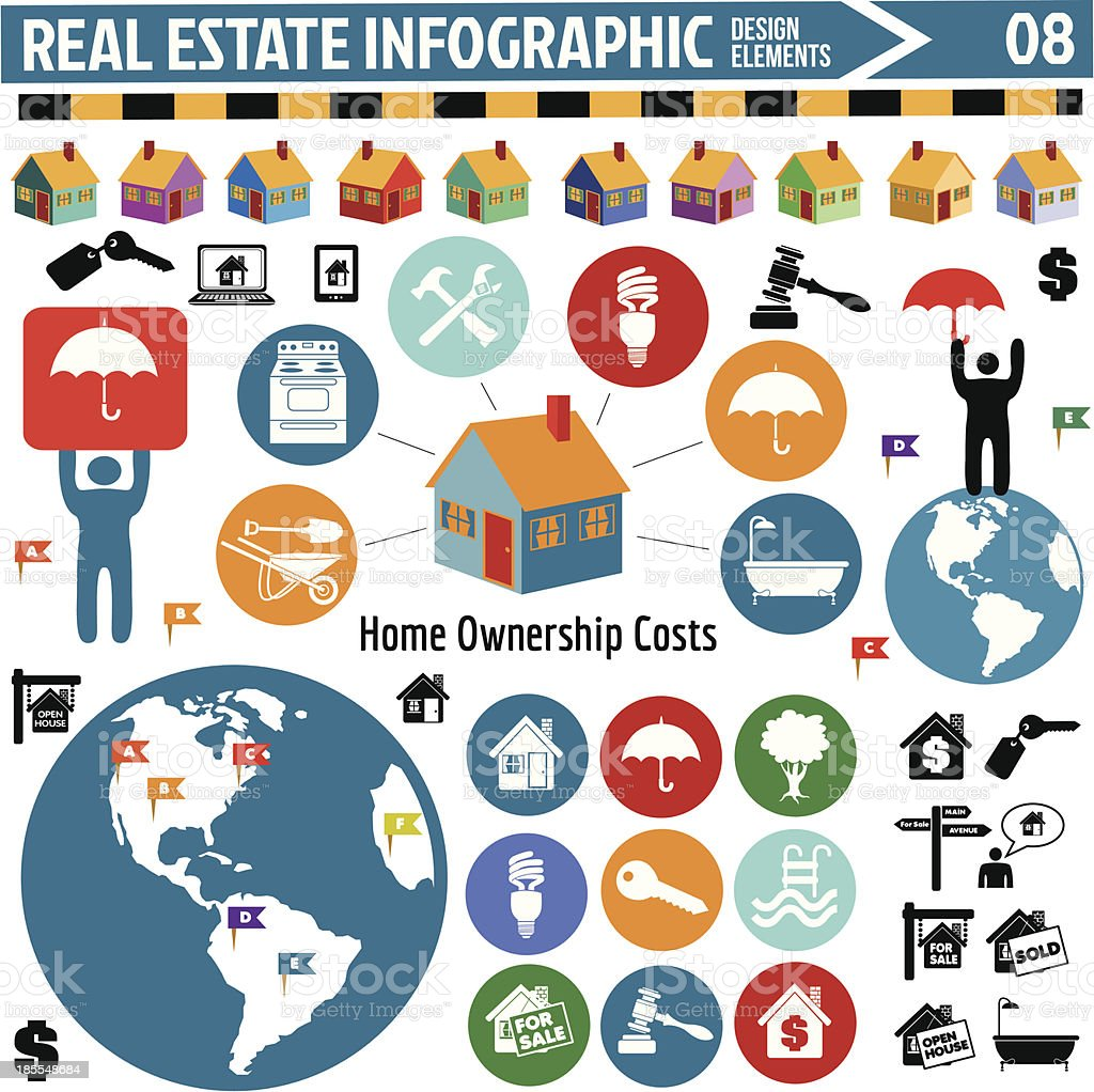 real estate infographics design elements vector art illustration