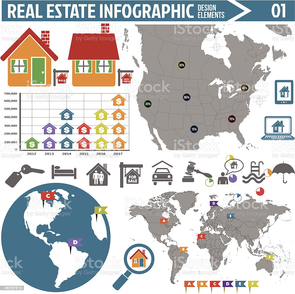 real estate infographics design elements royalty-free stock vector art