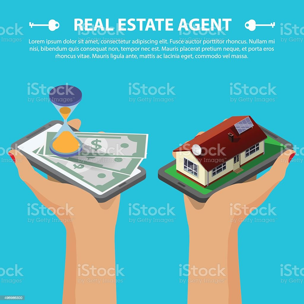 real estate isometric concept vector art illustration